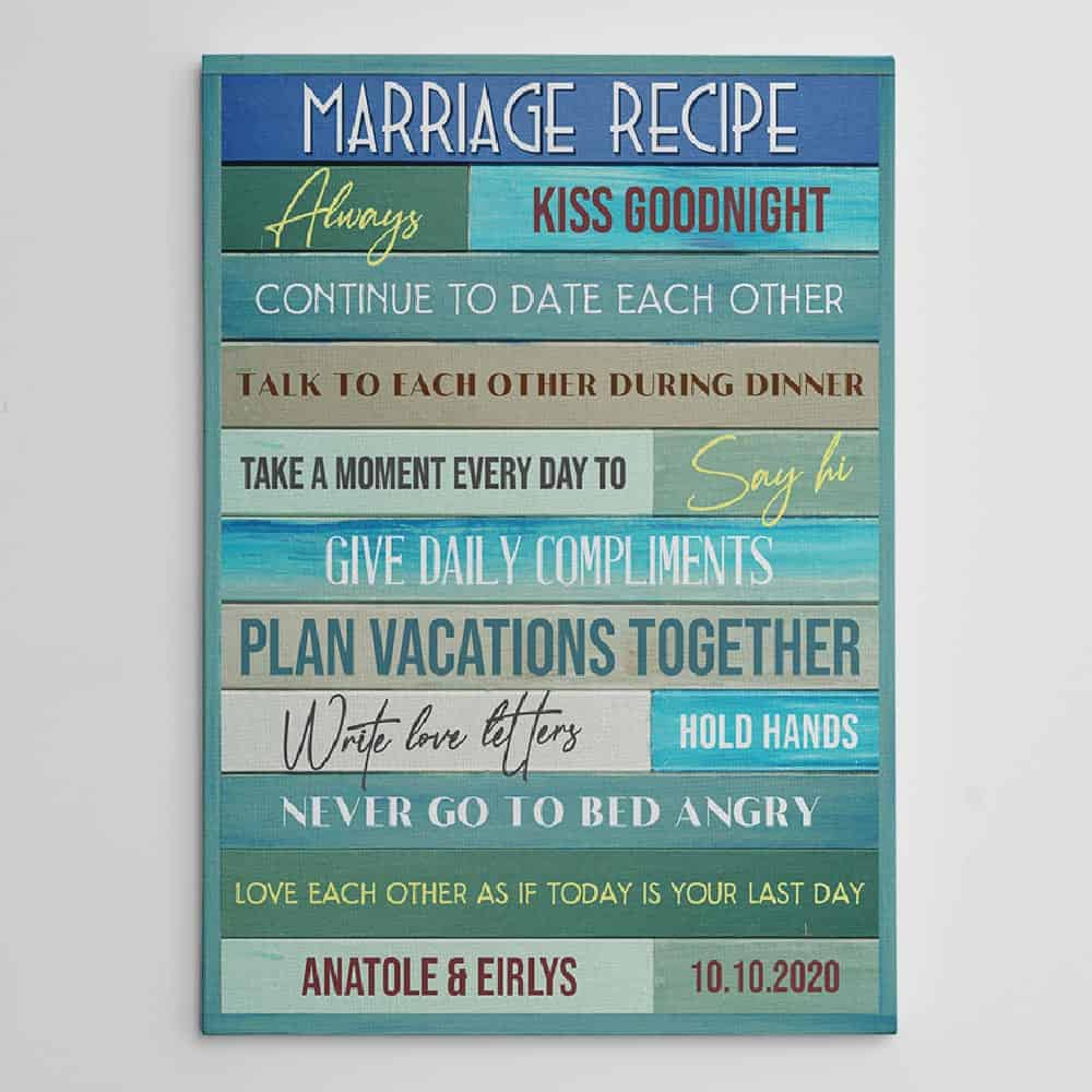 marriage recipe canvas print with custom name and wedding day
