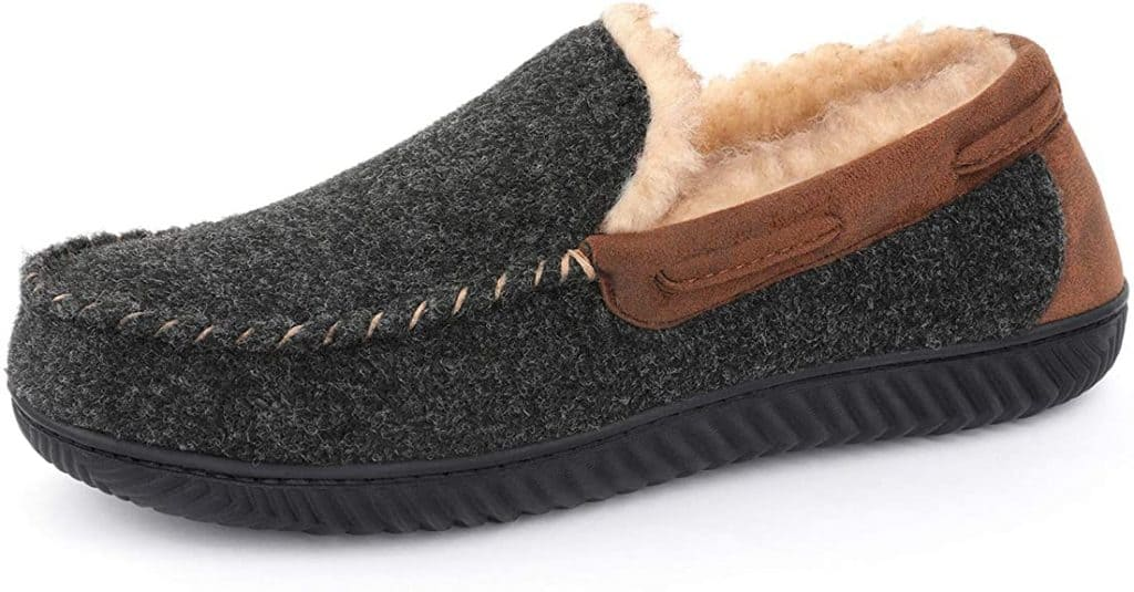 male anniversary gifts: memory foam moc slippers