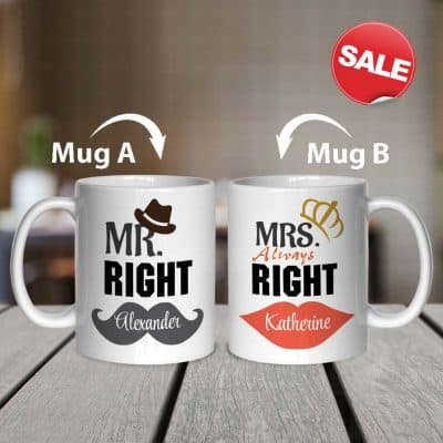 anniversary gift ideas for wife: Mr and Mrs Coffee Mug Set