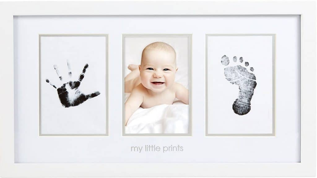 gifts for new grandma from baby: newborn hand and foot print photo frame kit