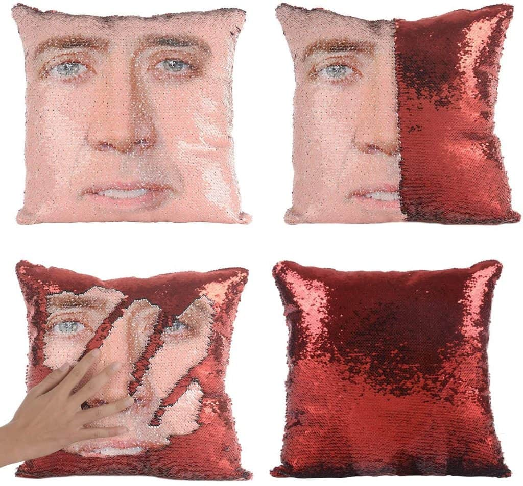 fun housewarming gifts: nicolas cage sequin pillow case