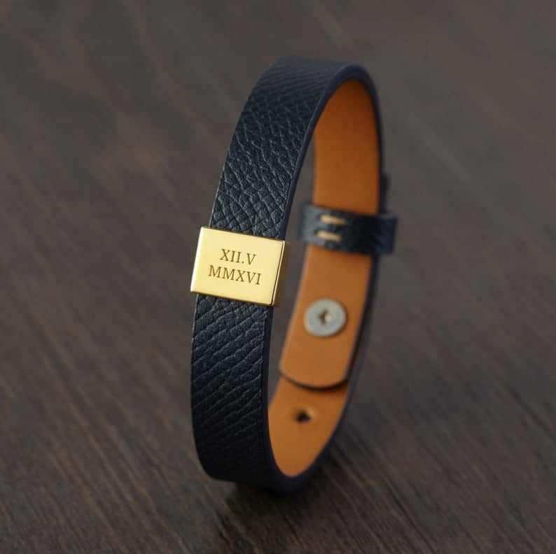 anniversary gift for husband: personalized leather bracelet