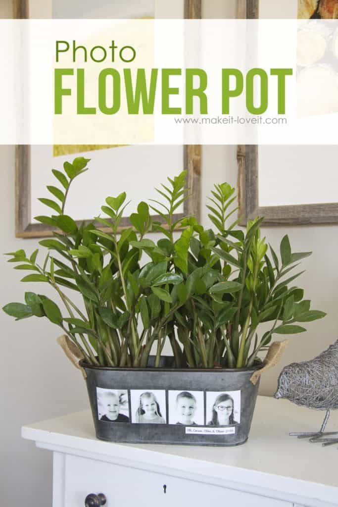 diy gifts for grandma: photo flower pot with kids' photo