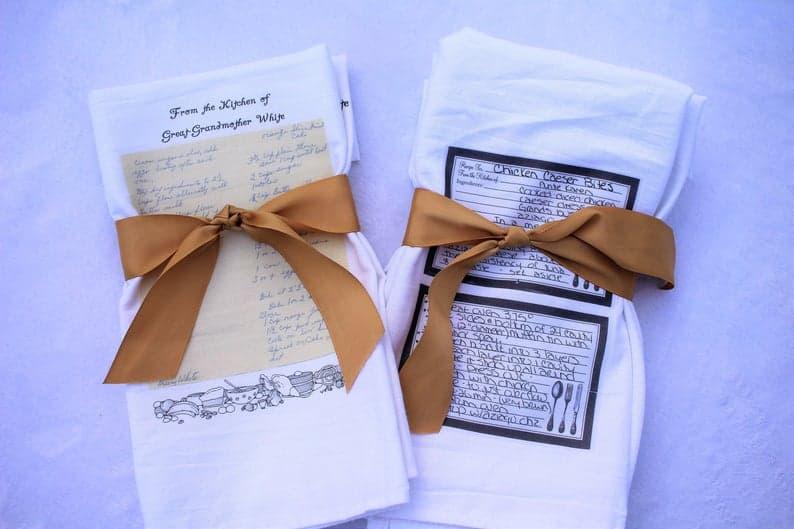 personalized grammy gifts: custom recipe tea towel