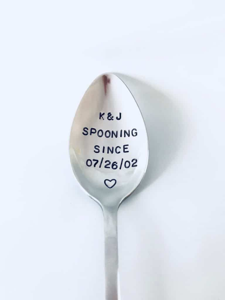cute anniversary gifts for him: spooning since engraved spoon