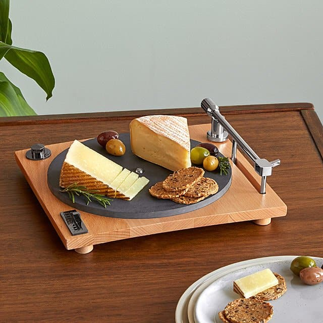 unique housewarming gift ideas: turntable cheese board