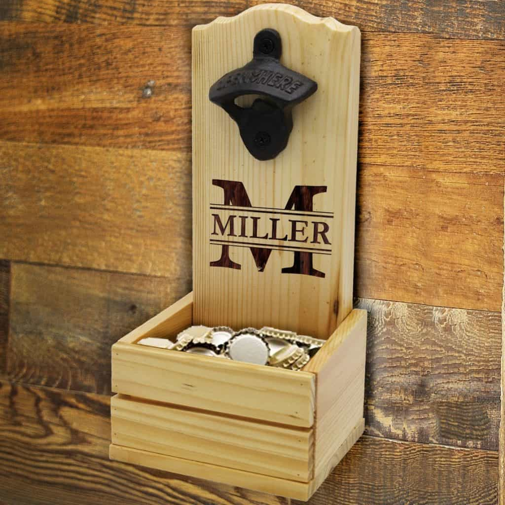 men anniversary gift: personalized wall mounted bottle opener