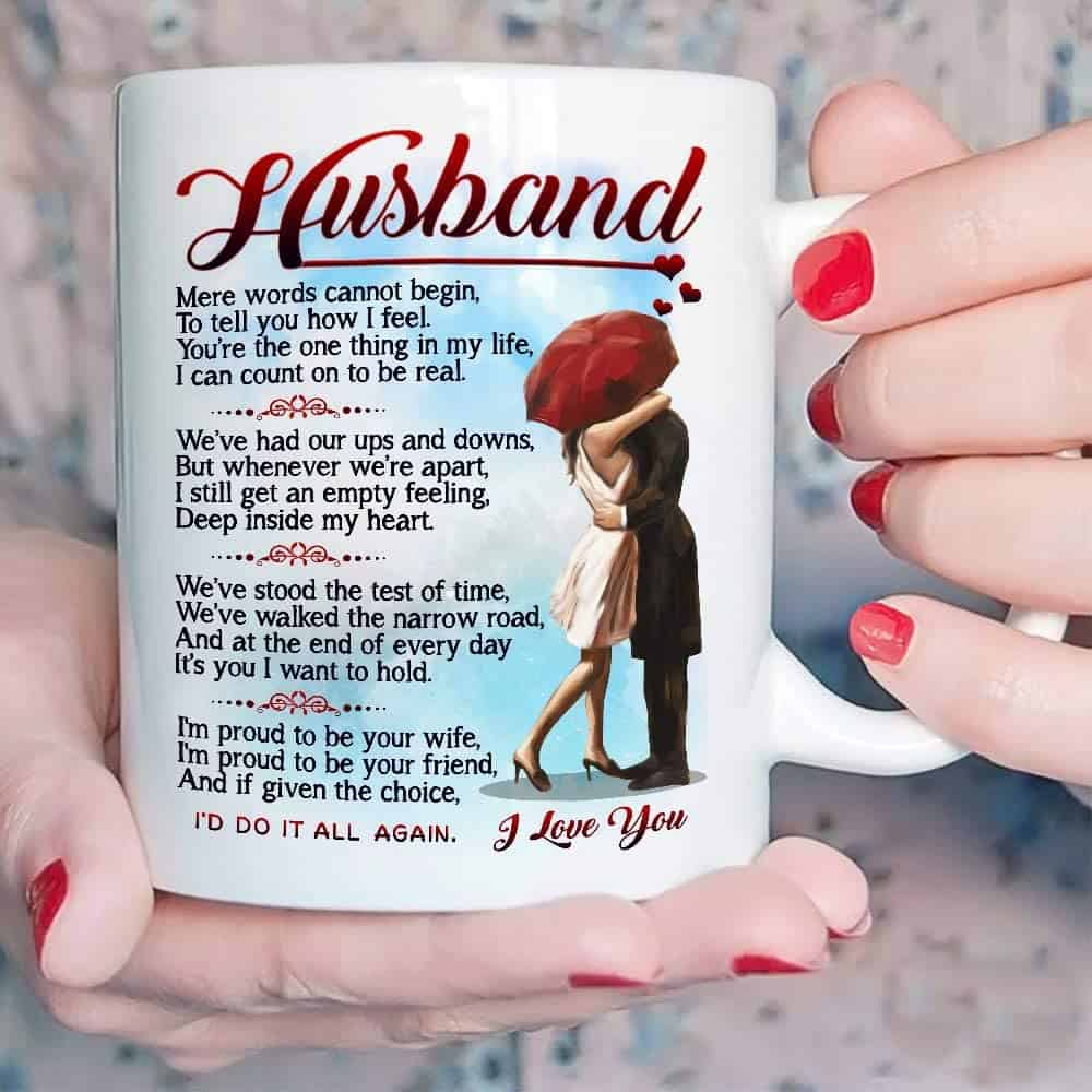 A Coffee Mug With Romantic Poem - Gift Idea for Husband From Wife on Father's Day