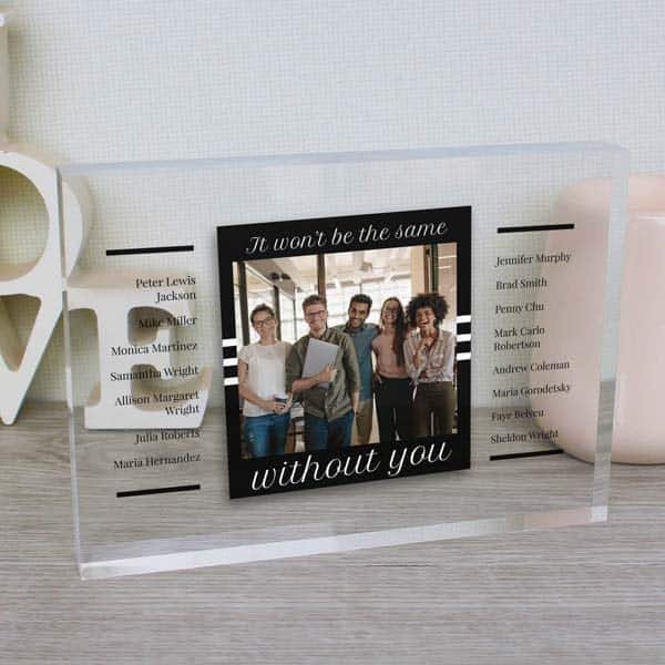 goodbye gifts for coworkers: Not The Same Without You Glass Block