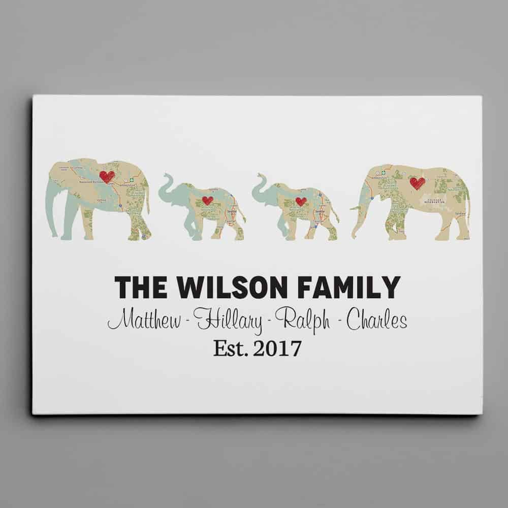 Personalized Elephant Family - Map Canvas Print - fathers day gift for husband