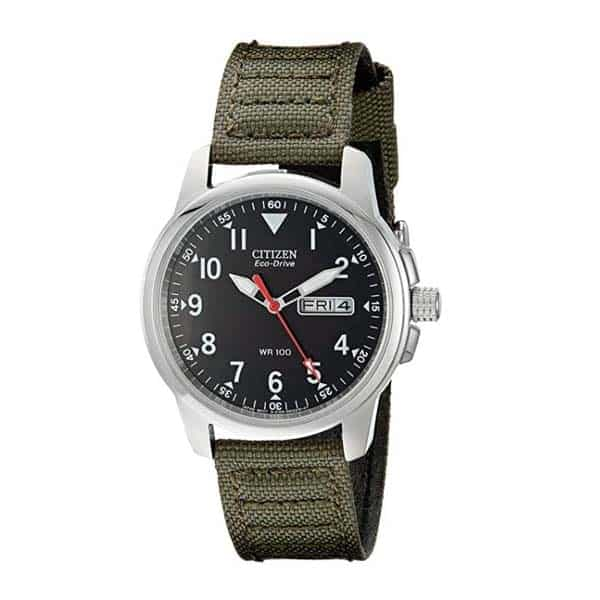 Stainless Steel Watch with Green Canvas