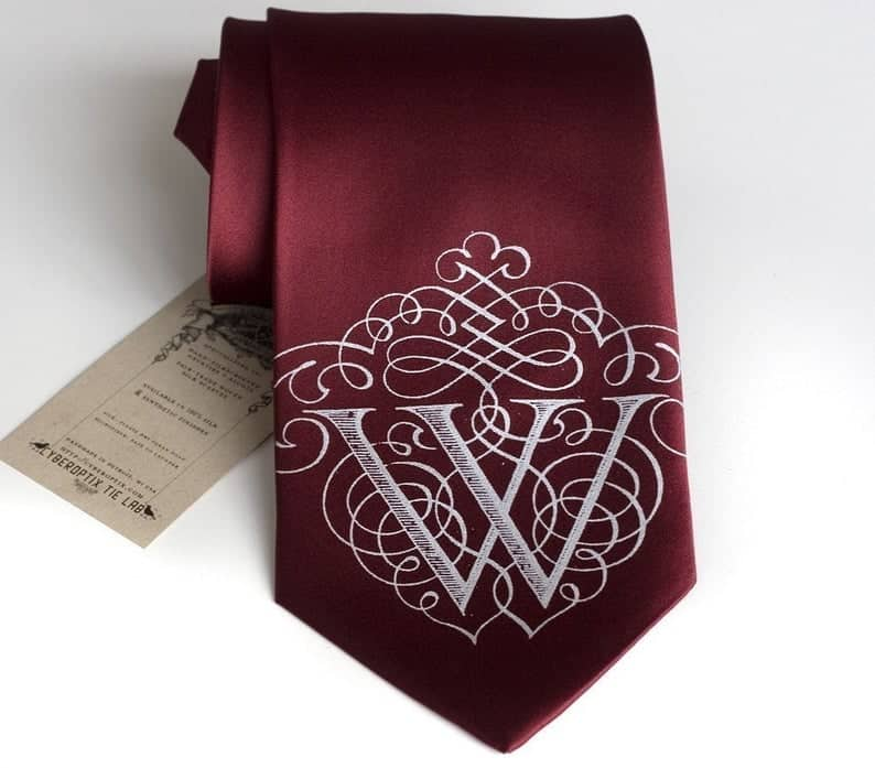 custom initial necktie - personalized birthday gift for husband