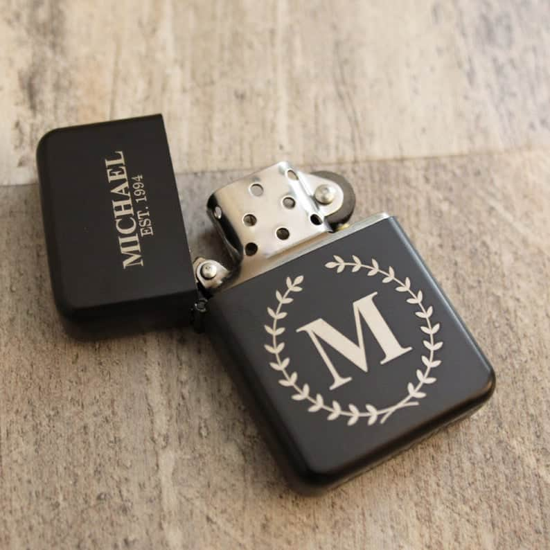 engraved monogrammed black lighter