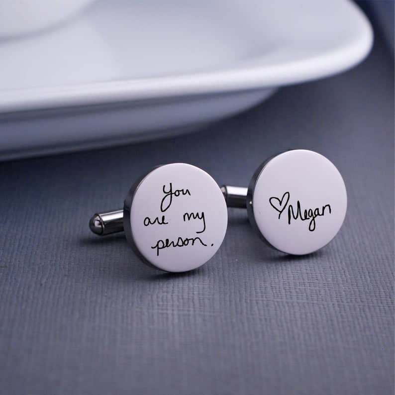 sentimental gift for husband: handwriting cufflinks