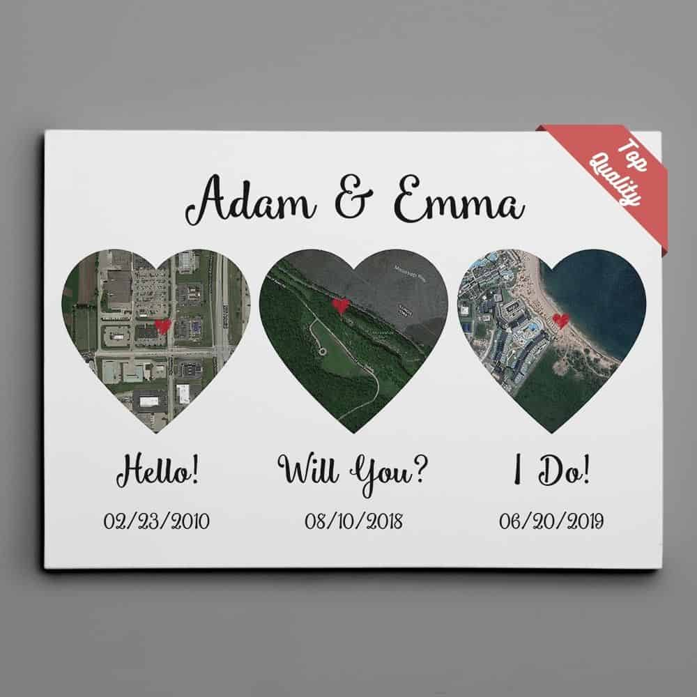 personalized gifts for husband for anniversary: hello will you i do map canvas print