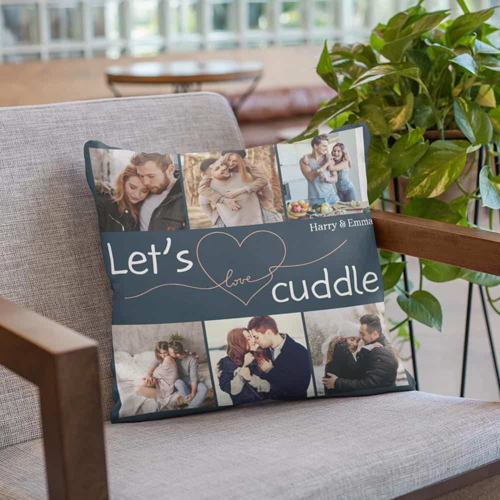 let's cuddle custom photo throw pillow