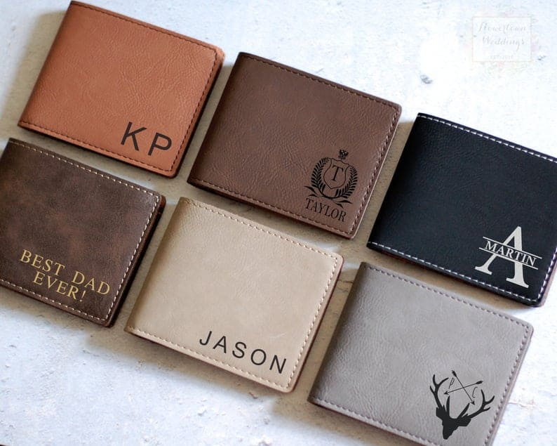 customized gifts for husband: personalized leather wallet