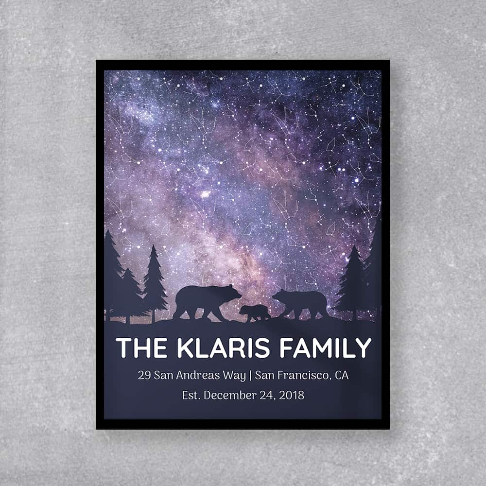 A Star Map Framed Print With A Bear Family As A gift from wife to husband on father's day
