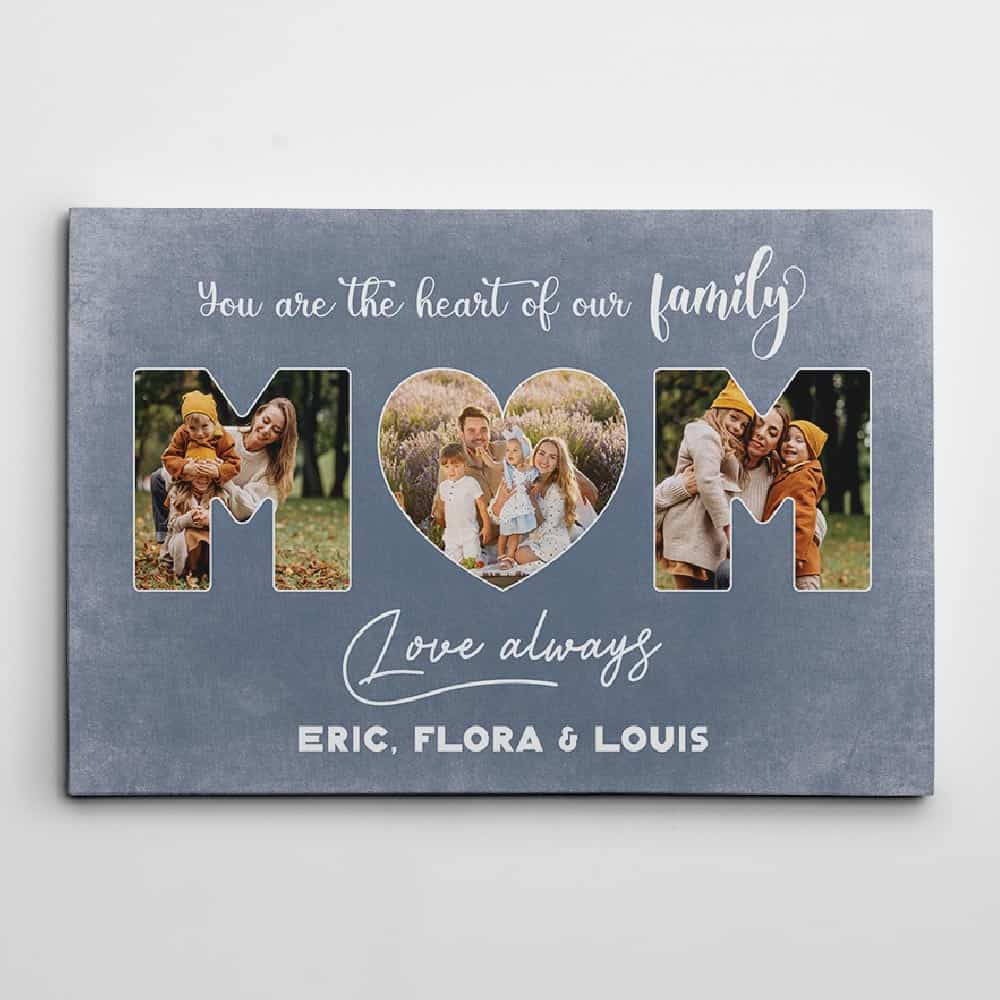a photo canvas print with the quote you are the heart of our family