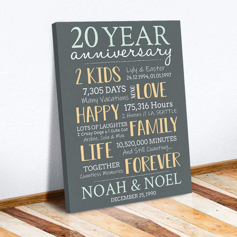 20 years anniversary achievements canvas print as a traditional anniversary gift for 20 years