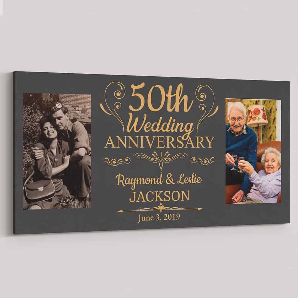 50th wedding anniversary canvas print - a gold themed gift