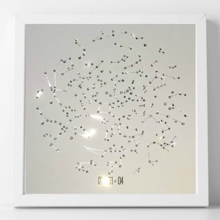 crystal star map - traditional 15 year wedding anniversary gift