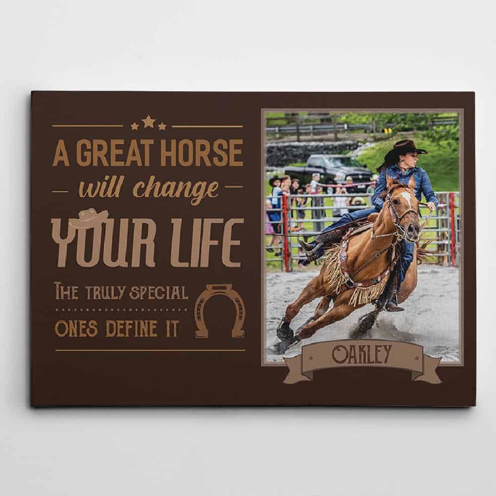 custom photo canvas print - gifts for horse lovers