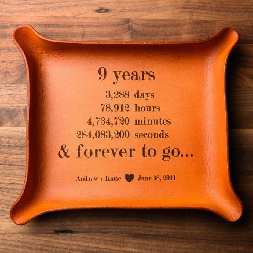 leather catchall tray - modern 9th anniversary gift