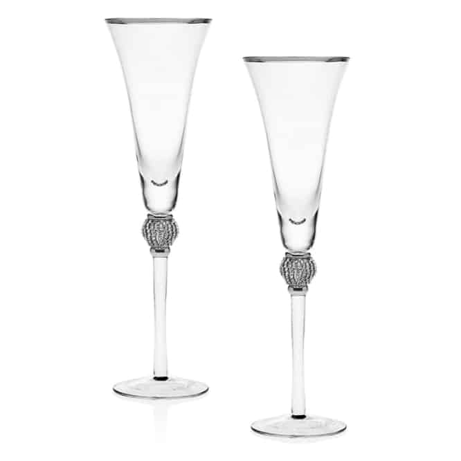 platinum diamond champagne flutes - modern 20th anniversary gift